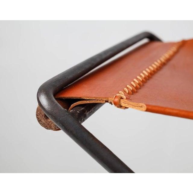 Animal Skin Cleo Baldon Leather and Iron Folding Stool, California, 1960s For Sale - Image 7 of 10