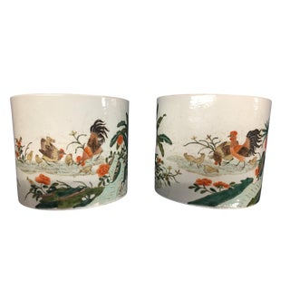 19th Century Chinese Hand-Enameled Porcelain Cachepots - a Pair For Sale