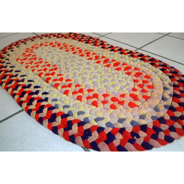 """1930s Handmade Antique American Braided Rug - 1'3"""" x 2'4"""" For Sale - Image 5 of 10"""