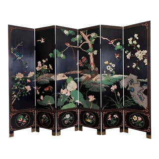 Chinese Coromandel Six Panel Folding Privacy Screen For Sale