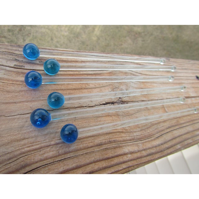 Mid Century Glass Royal Blue Ball Swizzle Sticks/Cocktail Mixers - Set of 6 For Sale - Image 12 of 12