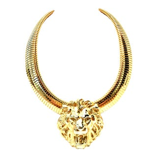 "20th Century Gold Lion ""Door Knocker"" Choker Style Necklace For Sale"
