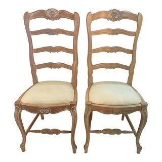 1990s Vintage Carved Dining Chairs Upholstery Seats- A Pair For Sale