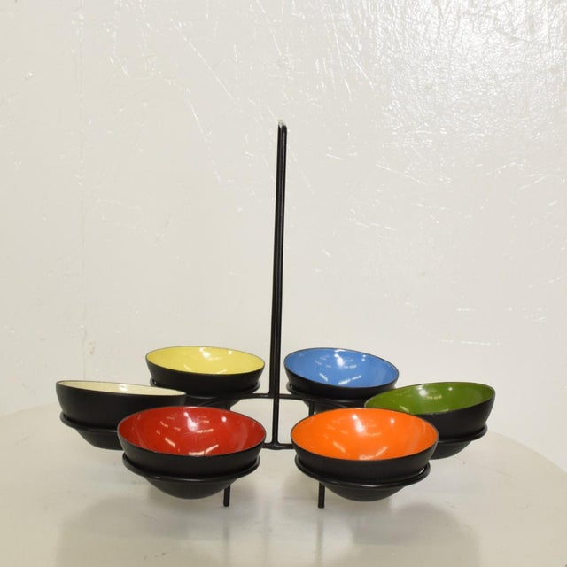 For your consideration, a Center Piece Enamel Bowls with holder. Attribution to Krenchel Krenit. No marking present. It...