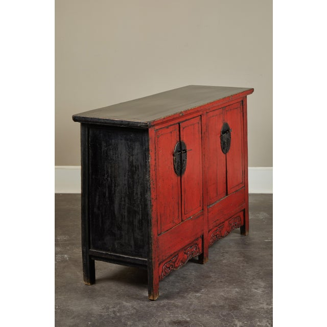 Asian 18th Century Chinese Elm 4-Door Side Cabinet For Sale - Image 3 of 11