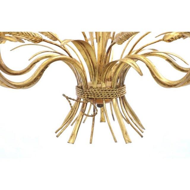 Mid-Century Modern Gold Gilt Metal Cattail Sheaf Light Fixture Chandelier For Sale - Image 3 of 9