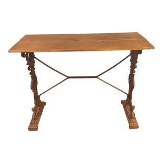English Iron Base Bistro Pub Console Table For Sale