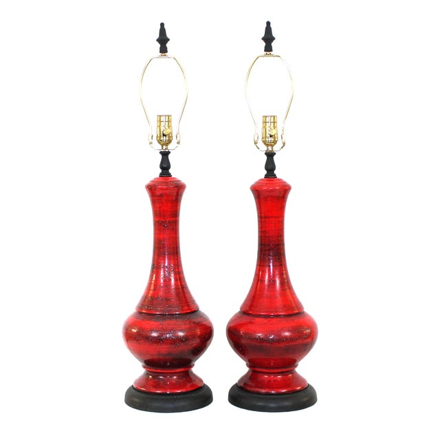 Mid-Century Red Italian Pottery Lamps - a Pair - Image 1 of 7