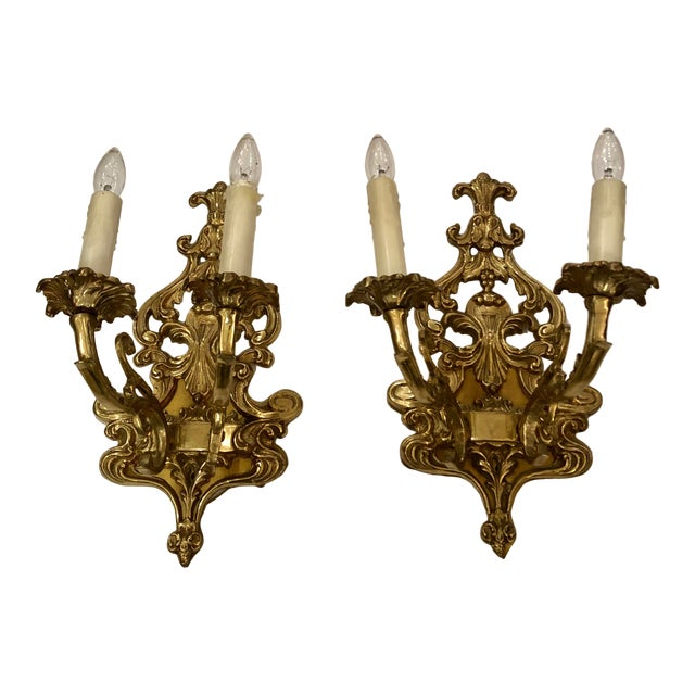 Louis XV Style Cast Bronze 2 Branch Wall Sconces -Pair For Sale