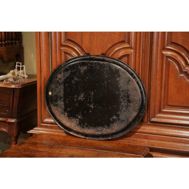 19th Century French Napoleon III Black and Gilt Oval Tole Tray With Winter Scene For Sale In Dallas - Image 6 of 7