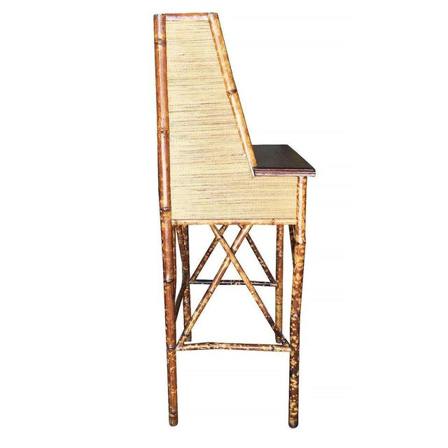 1900 - 1909 Restored Tiger Bamboo Secretary Desk With Ricemat Covering For Sale - Image 5 of 9