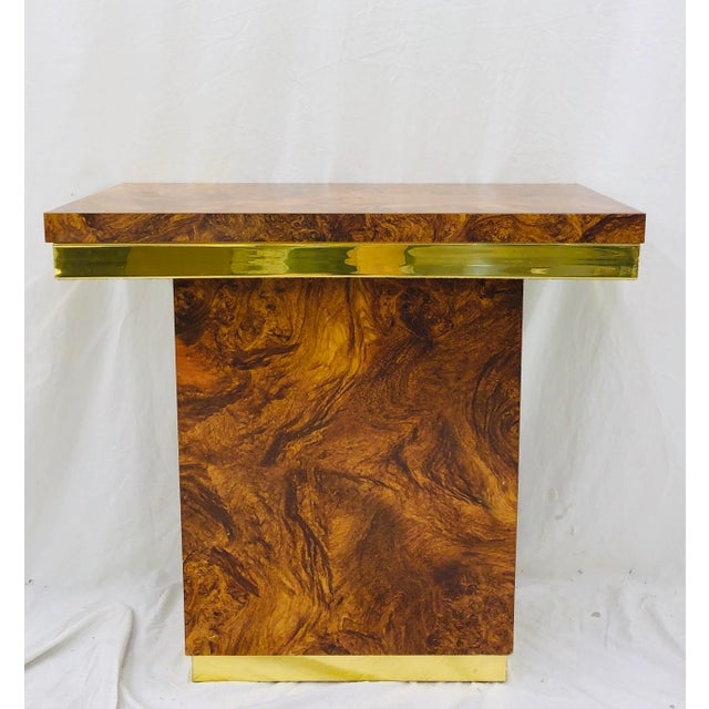 Contemporary Vintage Modern Burl & Brass Table For Sale - Image 3 of 12