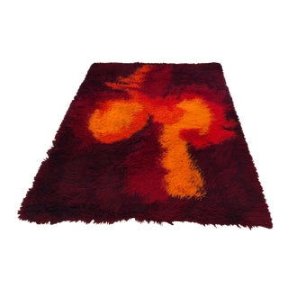 Eye Popping Mid-Century Modern Scandinavian Plush Shag Rug For Sale