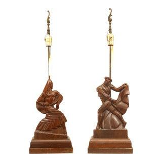 American Mid-Century Heifetz Figural Mahogany Table Lamps - a Pair