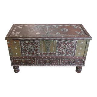 Zanzibar Arab Wooden and Brass Studded Trunk Coffee Cocktail Table For Sale