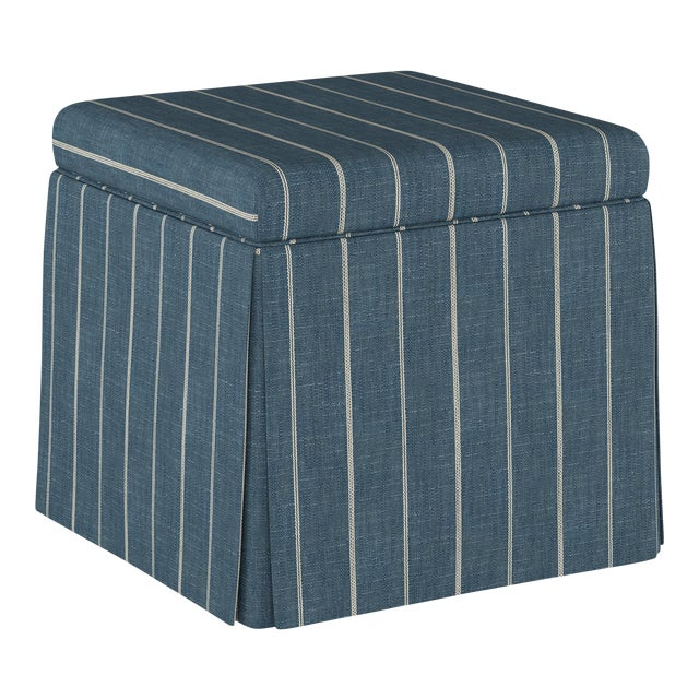 Fritz Indigo Skirted Storage Ottoman For Sale