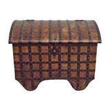 Image of Antique 19th Century Iron and Wood Storage Trunk For Sale