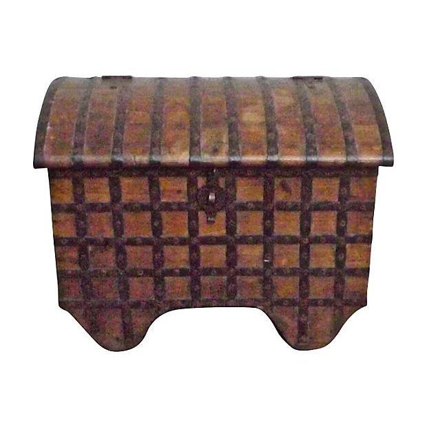 Antique 19th Century Iron and Wood Storage Trunk For Sale