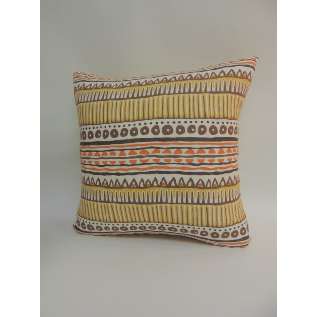 Pair of Vintage Mod Graphic Yellow, Brown and Orange Printed Decorative Linen Square Pillows - Image 3 of 5