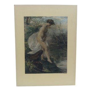 """Vintage Mid-Century """"Entering the Water"""" Mounted Color Print For Sale"""