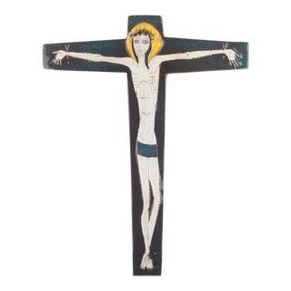 Large Wall Cross, Blue, Yellow, White Ceramic, Handmade in Belgium, 1950s