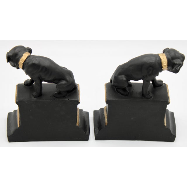 Mid 20th Century Black and Gold Ceramic Dog Bookends For Sale - Image 9 of 13