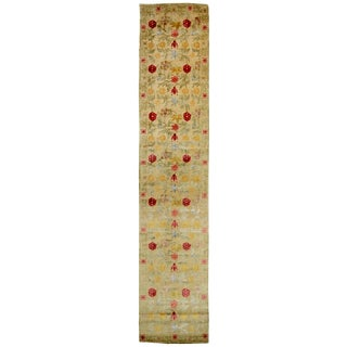 Bilbao Spanish Design Beige and Multicolor Floral Wool-Silk Runner - 2′9″ × 13′10″ For Sale
