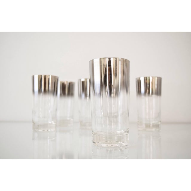 Mid Century Dorothy Thorpe Style Ombre Silver Fade Highball Or Drinking Glasses - Set Of 6 For Sale - Image 5 of 6