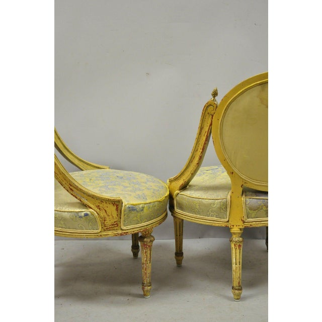 Vintage French Louis XVI Style Low Petite Boudoir Small Hiprest Chairs - a Pair For Sale - Image 9 of 13