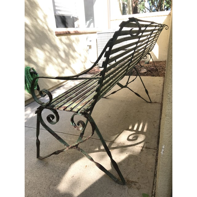 19th Century Antique French Wrought Iron Green Garden Park Restaurant Bench For Sale - Image 10 of 13