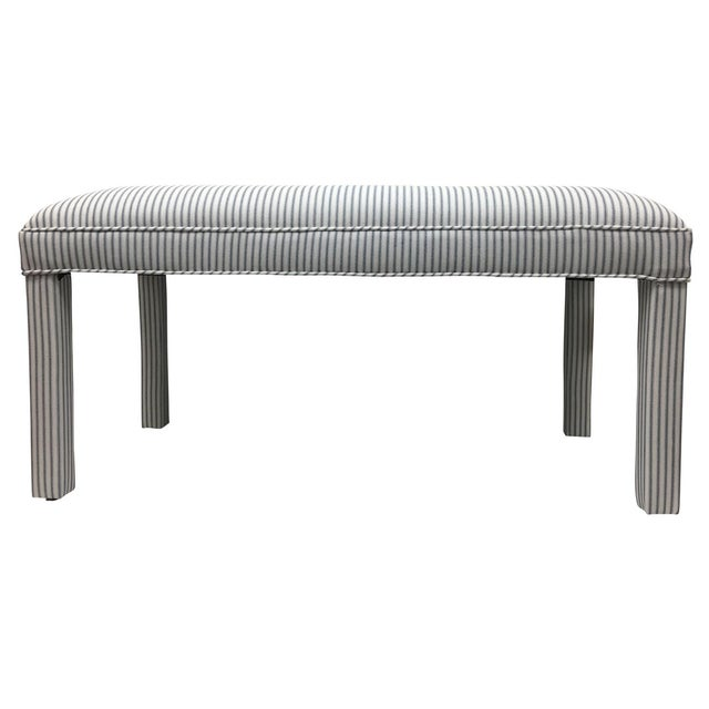 Parker Upholstered Bench in Ticking Stripe - Image 1 of 5