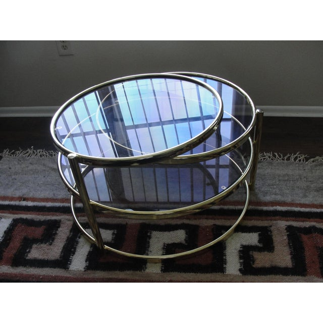 Vintage Milo Baughman DIA 3 Tier Swivel Table w/ Smoke Glass This is an excellent vintage 1960's 3 tiered swivel table by...