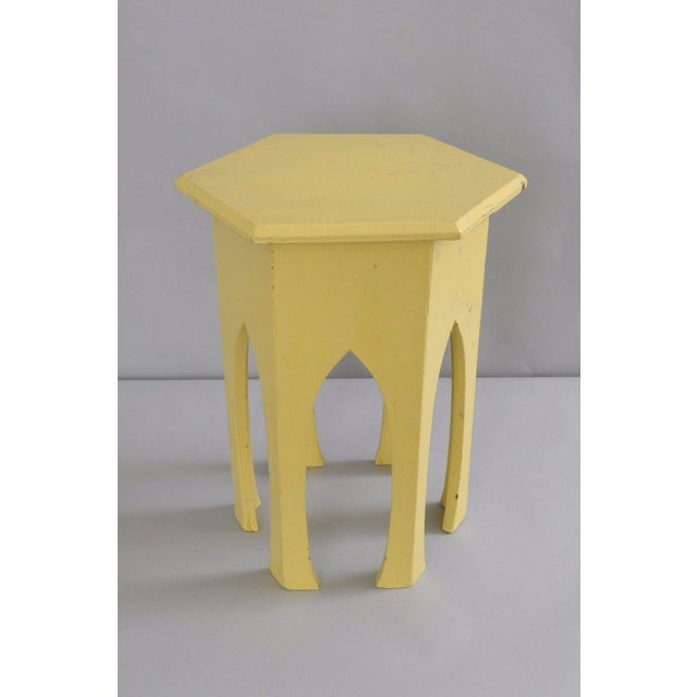 Antique Primitive Rustic Moorish Style Yellow Painted Accent Side Table Arched - Image 3 of 11