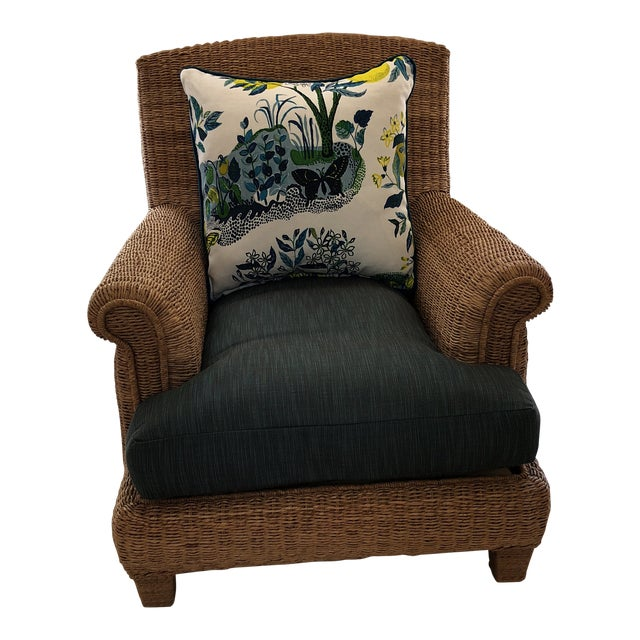 Ralph Lauren Herring Net Wicker Armchair With Upholstered Seat and Loose Back Pillow For Sale