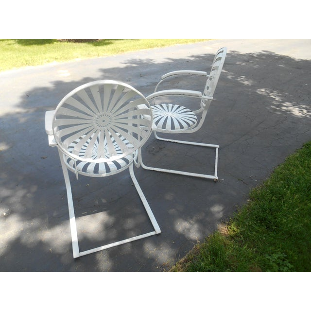 Early 20th Century Vintage Francois Carre Cantilever Sunburst Garden Chairs- a Pair For Sale - Image 5 of 7