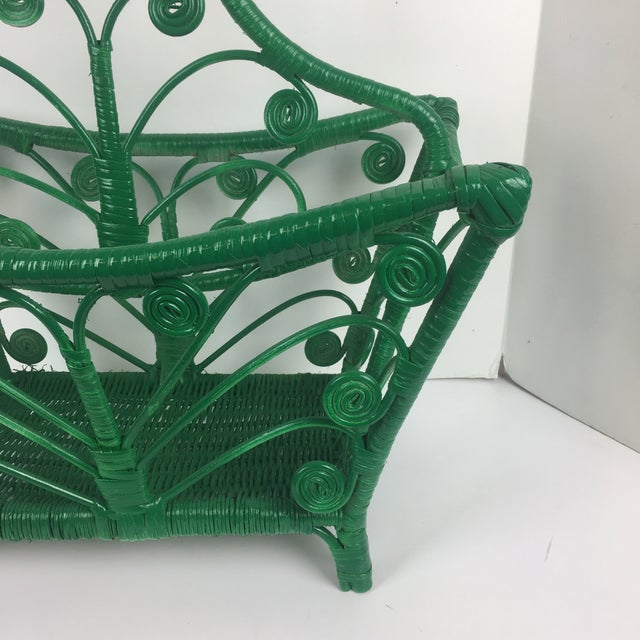 Asian 1960s Vintage Wicker Rattan Magazine Rack For Sale - Image 3 of 7