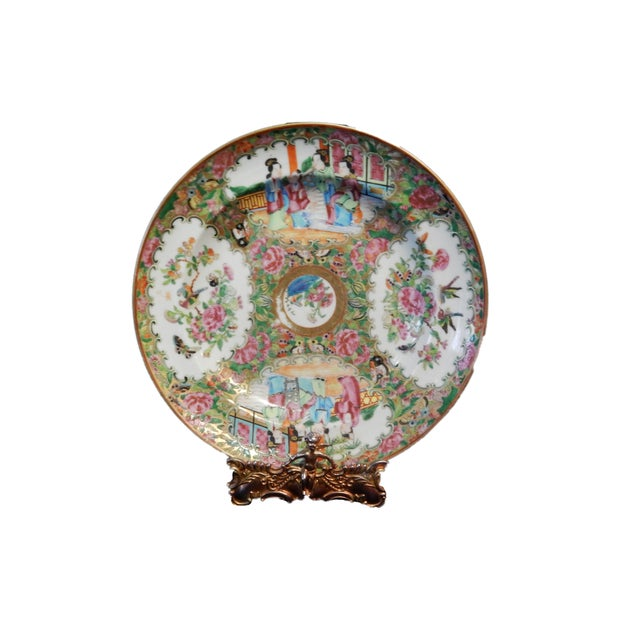 19th C Chinese Export Porcelain Rose Medallion Soup Plate For Sale - Image 10 of 11