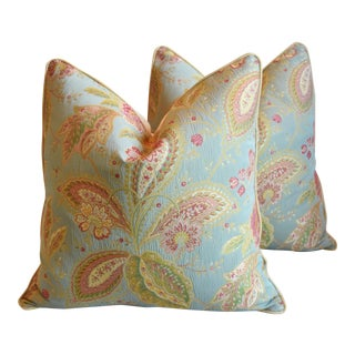 """Designer French Floral & Velvet Feather/Down Pillows 26"""" Square - Pair For Sale"""
