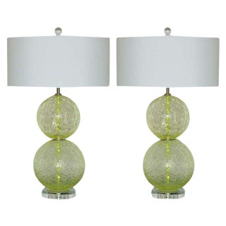 Vintage Murano Glass Ball Table Lamps Lime Green For Sale