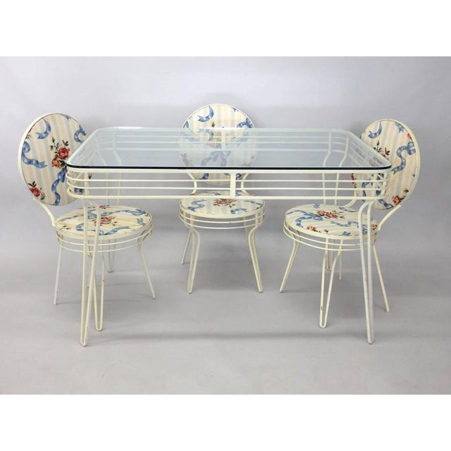 Wrought Iron Art Moderne Dinette Table and Chairs For Sale - Image 4 of 5