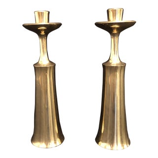 Jens Quistgaard for Dansk Brass Mid Century Candle Holders, a Pair For Sale