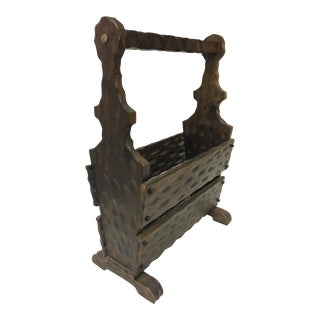 Spanish Colonial Revival Wooden Magazine Rack For Sale