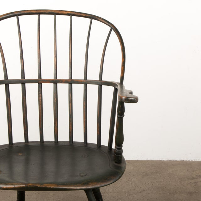 18th Century Antique Windsor Chair With Extended Arms For Sale - Image 9 of 13