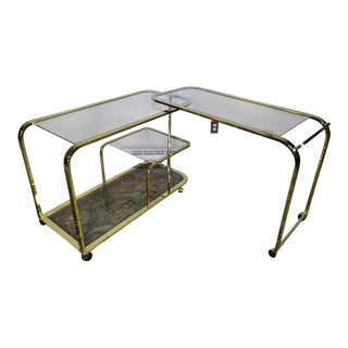 Milo Baughman for Design Institute of America Swivel Brass & Glass Bar Cart For Sale