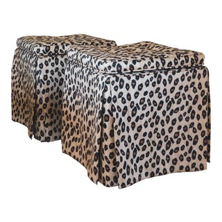 Hollywood Regency Leopard Print Skirted Stools - a Pair