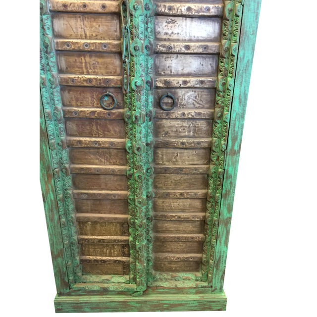 1920s Jaypur Grounding Brass Vintage Green Patina Old Doors Storage Kitchen Cabinet For Sale - Image 4 of 8