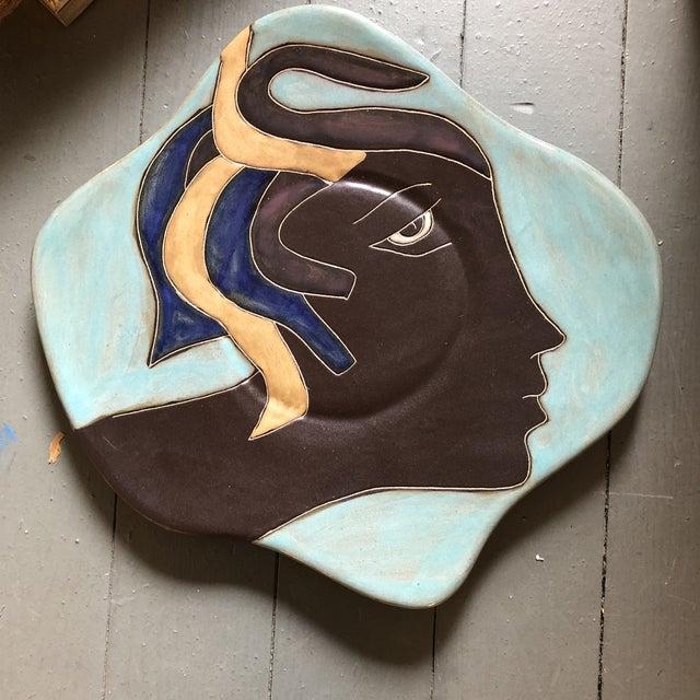 Vintage Mexican Signed Asymmetrical Face Hanging Plate For Sale - Image 4 of 4