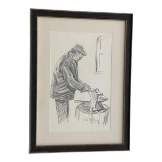 Original Gordon Wetmore Sketch of Man Working With Anvil For Sale