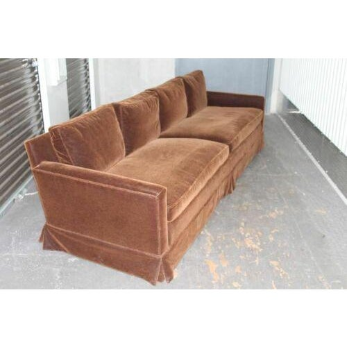 Mid-Century Modern Vintage Newly Reupholstered Chocolate Brown Mohair Sofa For Sale - Image 3 of 8
