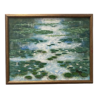 """1960s """"Lilly Pads"""" Plain Air Oil Painting, Framed For Sale"""